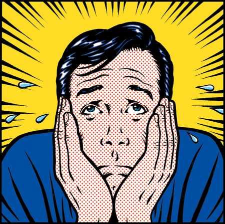 cartoon of worried looking man