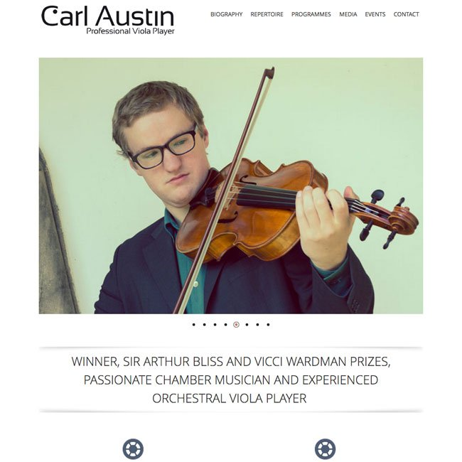 Screenshot of professional musician website