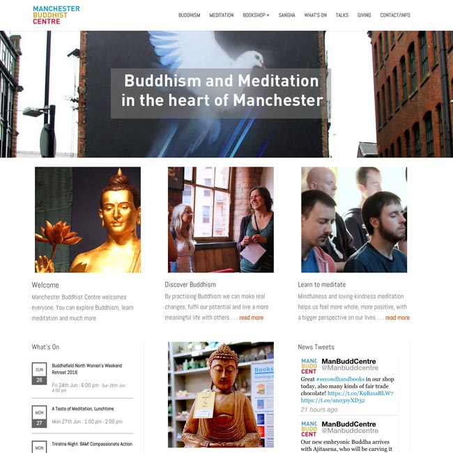 Screenshot of Buddhist Centre site