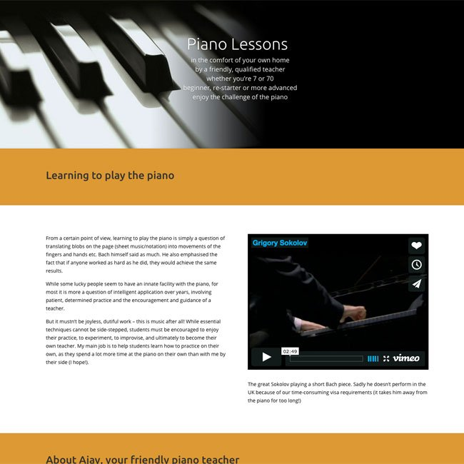 screenshot of piano website